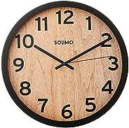 "Amazon Brand - Solimo 12"" Wall Clock - Vintage Paneling (Silent Movement, Black F"
