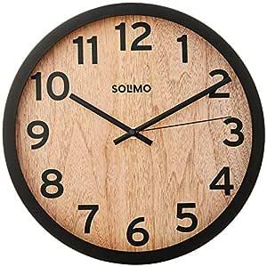 "Amazon Brand - Solimo 12"" Wall Clock - Vintage Paneling (Silent Movement, Black Frame)"