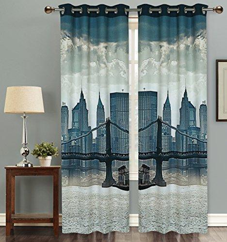 Dekor World London Bridge Digital Printed Blackout Curtain Set ...