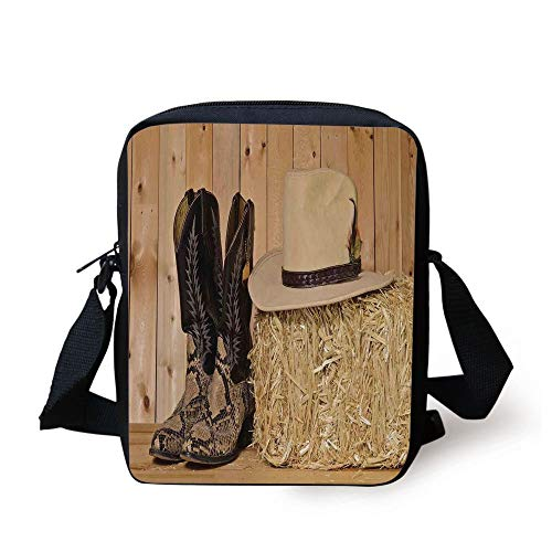 Western Decor,Snake Skin Cowboy Boots Timber Planks in Barn with Hay Old West Austin Texas,Cream Brown Print Kids Crossbody Messenger Bag Purse -