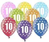 Libetui 10 kunterbunte Luftballons Metallic 30cm Deko zum Geburtstag Party Kindergeburtstag Happy Birthday Dekoration (Zahl 10)