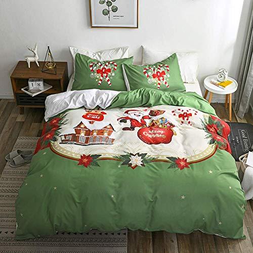 XWXBB Bettbezug Bettwäsche dreiteiliger Anzug 3D Digital Santa Bettbezug Kissenbezug Polyester Bettwäsche 3er-Set (A02,135x200cm)