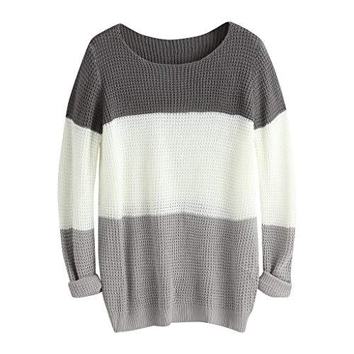 MOTOCO Frauen Langarm Nähte O Neck Solide Pullover Damen Kausal Lose Mode Pullover Top(4XL,Dunkelgrau)