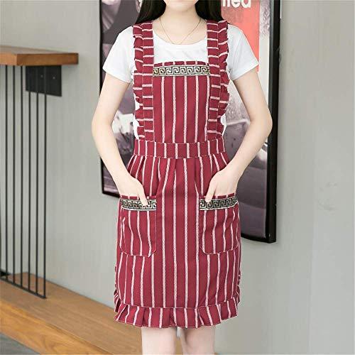 YXDZ (2 Stücke Mode Doppel Baumwolle Schürze Bäckerei Restaurant Küche Tee Café Malerei Männer Und Frauen Overalls Taille Rote Schürze -