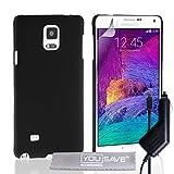 Yousave Accessories® Custodia Duro Ibrido con Caricabatteria da Auto per Samsung Galaxy Note 4, Nero