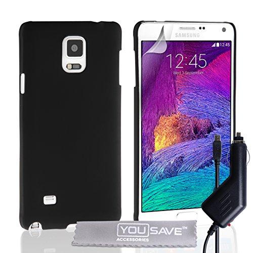 Yousave Accessories® Cover Compatibile per Samsung Galaxy Note 4 Custodia Duro Ibrido Nero con Caricabatteria da Auto