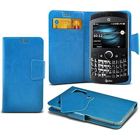 (Baby Blue) HP iPAQ Glisten Caso fino estupendo Faux Leather succión Pad Monedero piel de la cubierta con el crédito / débito ranuras para tarjetasBy