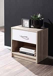 AVANTI TRENDSTORE - comodino con un cassetto e un scompartimento aperto, quercia Sonoma d'imitazione, ca. 39x41x28cm