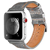 Armband für Apple Watch 42mm(44mm Series 4), Apple Watch Armband Leder Armband Vintage Echtleder Uhrenarmband für iWatch Series 4,Series 1, Series 2, Series 3, Apple Watch Sport Edition und Nike+ Grey