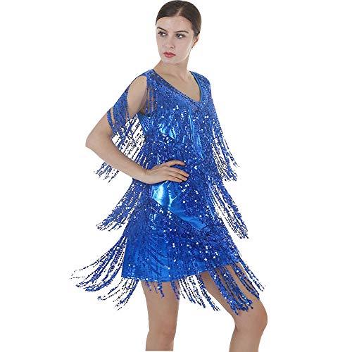Dance Fringe Jazz Kostüm - GOWE Damen Mode Tanzkostüme - Ärmellos Sexy Pailletten Quasten Latin Jazz Salsa Performance Wettbewerb Kleider Für Damen, Königsblau/XL
