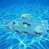 UxradG U-Boot-Spielzeug, Radio Control RC Bereit, Mini-U-Boot-Schnellboot-Modell zu Laufen Hoch angetriebenes 3.7V großes Modell RC-U-Boot-Spielzeug im Freien(Blue)