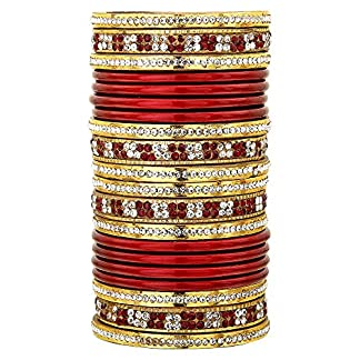 Sukriti Bridal Maroon Lac Chura Bangles for Women -Set of 20| Size: 2.8