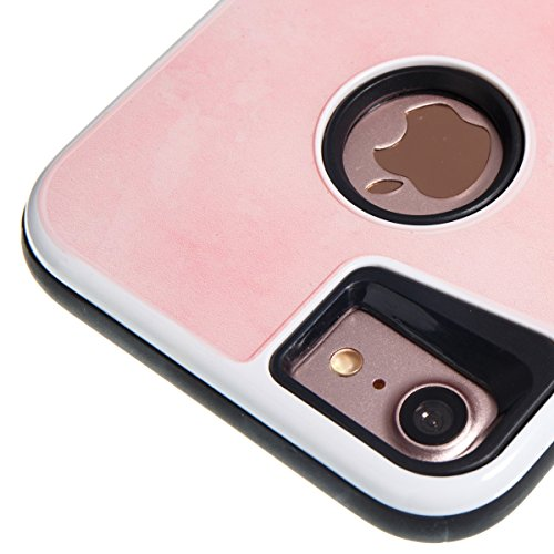 Custodia iPhone 7, ISAKEN Cover per Apple iPhone 7 [TPU Shock-Absorption] - Marmo Modello Naturale Custodia Soft TPU Sottile Custodia Case Morbido Protettiva Bumper Caso, Viola Light Pink
