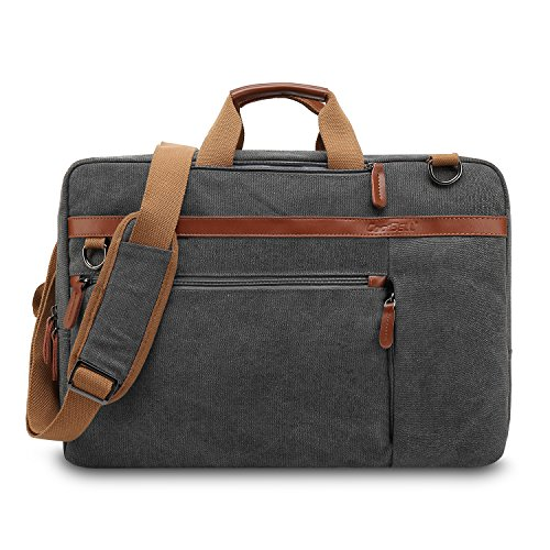 UtoteBag Umwandelbar Laptoptasche Laptop Schultertasche Umhängetasche Segeltuch Messenger Bag Businesstasche Dienstreise Aktentasche für 17,3 Zoll Laptop Notebook (Canvas Dunkelgrau)