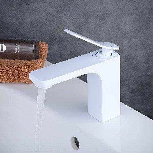 beelee eleganten Weiß Waschtisch-Einhandmischer Wasserhahn Waschbecken Wasserhahn, Messing massiv, weiß Malerei (Centerset Mixer Basin)