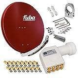 FUBA 85cm für 8 Teilnehmer (Direktanschluss) Digital SAT Anlage DAA850R + Octo LNB weiß 0,1dB FULL HDTV 4K 3D + 16 Vergoldete F-Stecker und F- Montageschlüssel gratis dazu
