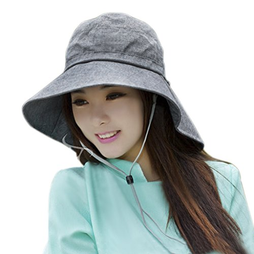 Womens Travel Beach Fishing Flap Hat Wide Brim Sun Hat Sun Protection Neck  Cover Protector Adjustable Cord Cotton Floppy Bucket Cap Sunhat UPF 50+  with Chin ... 56823032bc5