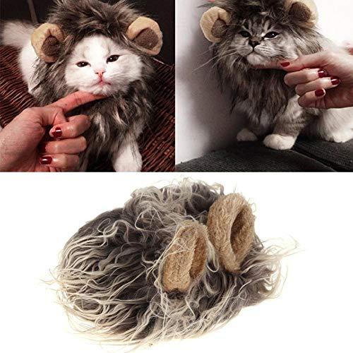 Everpert Pet Emulation Löwe Hair Mähne Ohr Pet Hat Cat Cute Dog Gap Haarband mit Kopfbedeckungen