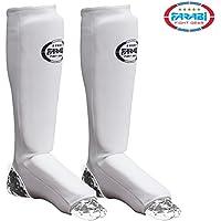 Farabi espinilleras para artes marciales, Kick Boxing Training almohadillas, almohadillas karate, mma almohadillas de entrenamiento altamente elástico (blanco, XL)