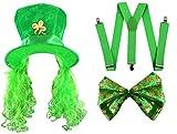 Déguisement de lutin de la St Patrick avec un chapeau vert Irlandais et sa perruque verte + une paire de bretelles vertes + un nœud papillon vert géant pour adulte. Ideal pour les enterrements de vie de garçon.