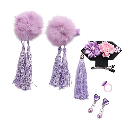 hen Haarschmuck, Pom Pom Girls Tassel Hairclip Haarnadel (Chinesischen Qing Dynastie Kostüm)