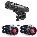 Wasserdicht 300lm Fahrradlicht LED Set–1Sets vorne (3Farben) und 2Sets Rückseite Lights–Mount w/out Werkzeuge–Road, Racing & Mountain–passt für alle Fahrräder (schwarz)
