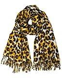 Caspar SC501 weicher warmer Damen XL Schal mit Leo Animal Print, Farbe:curry, Größe:Einheitsgröße