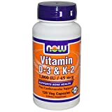 Now Foods Vitamin D-3 & K-2 (1,000IU, 45mcg, 120 Vegetarian Capsules) from NOWFOODS