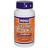 Now Foods, La vitamina D-3 / K-2, 1.000 IU / 45 mcg, 120Vcaps