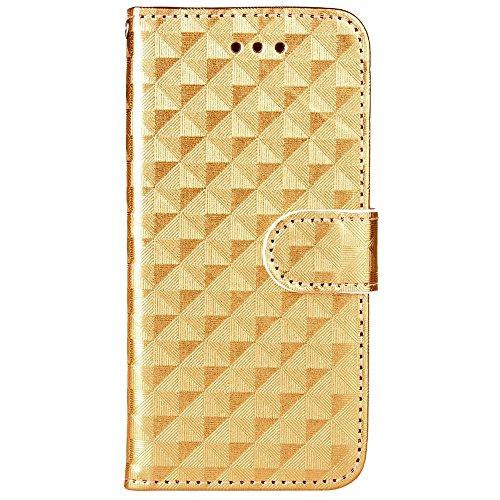IPhone 7 Case Cover, Carré Lattice motif Flip Stand Case TPU couverture avec cordon et portefeuille et cadre photo pour Apple IPhone 7 ( Color : Silver , Size : IPhone 7 ) Gold