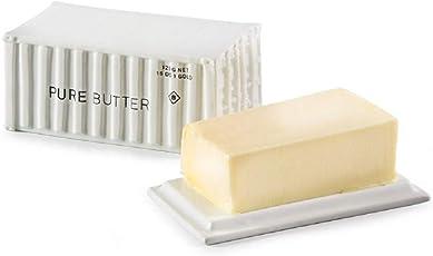 Butterdose Butterfahrt aus Porzellan - weiß - für 125 g Butter - mit Deckel - kreativ & praktisch - Schiffscontainer Design