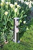Steckdosensäule 4-fach Edelstahl Aussensteckdosen Energiesäule Energieverteiler IP44 Made for Licht-Idee®