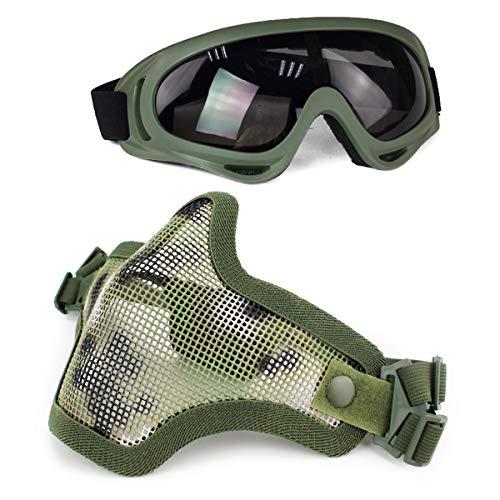Aoutacc Juego de máscaras y Gafas Airsoft, máscara de Malla de Acero Completa de Media Cara y Gafas para CS/Caza / Paintball/Disparos (AOR2)