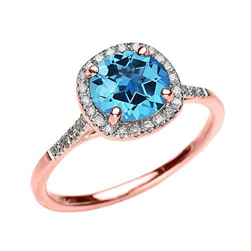 Bague Femme/ Bague De Fiançailles 10 Ct Or Rose Diamant Et Véritable Bleu Topaze