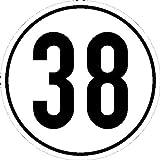 Geschwindigkeitsschild f Kfz z. Angabe km/h in versch. Vers,selbstkl.Folie,20cm Version: 38 - Geschwindigkeit 38