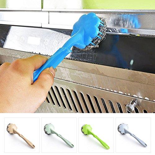 4Draht Bürste mit Kunststoff Griff, uxradg Reinigung Ball Bürste (Langlebig zum Aufhängen von Bürste Pfanne/Auflaufform/Topf Pinsel Küche Supplies (Reinigung Topf)