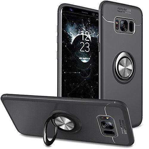 BtDuck Kompatibel mit Handyhülle Samsung Galaxy S8 Hülle Schwarz Matt Dünn Silikon Hülle Galaxy S8 mit Metall Ring Handyhalterung Auto Magnet Ständer Bumper Case Schutzhülle Halter Ständer Ringhalter