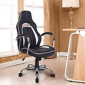 Homcom Fauteuil de gaming Racing Sport Siège de Bureau Pivotant en cuir chaise de bureau ordinateur PC Chaises Fauteuil réglable en hauteur Noir/blanc