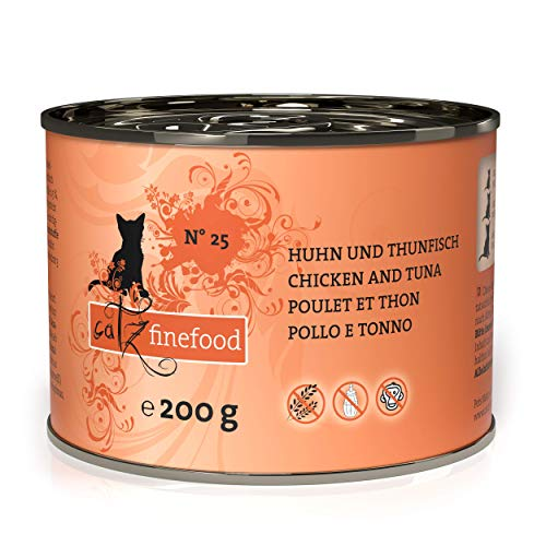 catz finefood N° 25 Huhn & Thunfisch Feinkost Katzenfutter nass, verfeinert mit Kürbis & Hagebutte, 6 x 200g Dosen