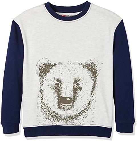 RED WAGON Jungen Sweatshirt mit Bären-Druck, Mehrfarbig (Grey/ Navy), 104 (Herstellergröße: 4 Jahre) Bär Sweatshirt