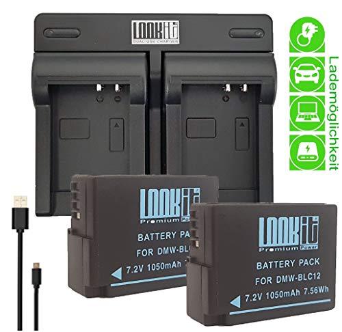egerät + 2x LOOkit Akku BLC12 kompatibel für Panasonic Lumix DC FZ1000 II G81 FZ2000 G70, FZ300 FZ1000 G70 GX8  ()