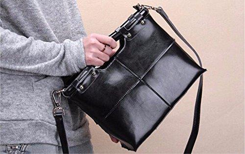 Dame Dame Handtasche Tasche Leder Rindsleder Tasche, 25 * 11 * 21 cm Schwarz