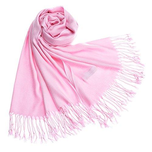 """Remedios 73*28"""" Touché soyeux Couleur Unie Type Pashmina Châle/Echarpe/Etole 185*70cm Rose"""