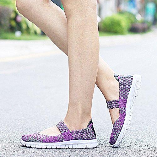 Qansi Chaussures De Sport Pour Femmes Baskets Légères Chaussures En Tissu Multicolore Violet Baskets De Voyage Respirant