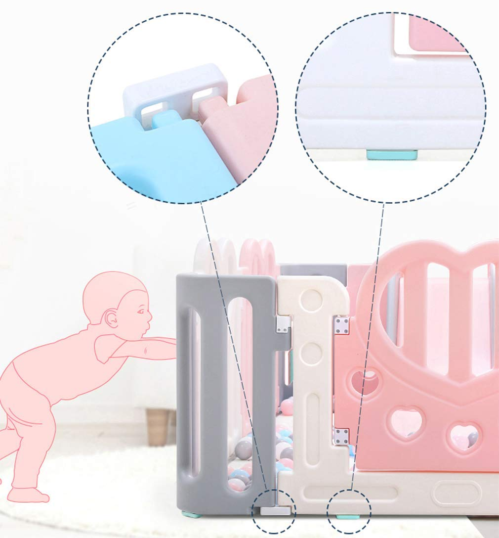 KAPR Children's Fence Indoor Small Amusement Park Baby Safety Creep Pad Walk-in Guardrail Sturdy - Made From Non-toxic Materials KAPR Silicone anti-slip and fixed snappush push is not to test the quality of the dimension of the fence Our fence in the push resistance to make even adults are not easy to push Interface square snap design Precision card position more stable each piece of fence up and down snap fixed can be assembled solid and not easy to push down Smooth surface no burrs no hurt hand artificial and mechanical double polishing trim to care for the baby's tender skin 4