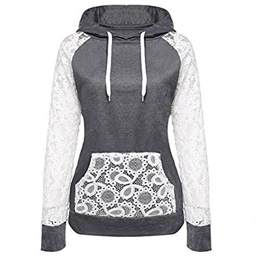 SANFASHION Damen Hoodie Frauen Spitze Patchwork Kapuzenpullover Lace Pullover Mantel Oberbekleidung Tops mit Taschen