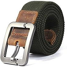 Regolabile Canvas Cintura Belt Waistband con Fibbia in metallo - Aohro All'aperto Sport Cinghia Uomo Donna Unisex in Tessuto Tela - stile 1 - verde army