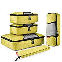 Gonex Packing Cubes Luggage Travel Organizers L+2S+Slim+Laundry Bag Yellow