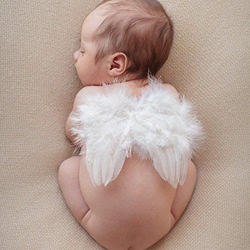 Baby Nette Engel Feder Flügel Fotografie Kostüm Stütze Foto Stütze mit Elastische Perle Strass Blume Stirnband Set für Mädchen Weiß (Blumen-mädchen-flügel)