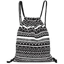 Borsa Familizo Elegant Unisex Retro Geometric Backpacks Printing Bags Drawstring Backpack